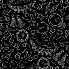 Vector seamless pattern with hand drawn isolated jewelry on black color. Background for use in design