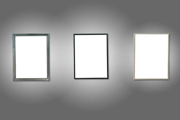 Three white isolated wooden frames
