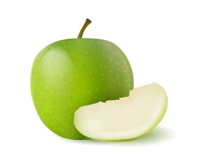 Vector photo-realistic green juicy sliced apple. 3d design object