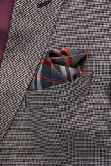 pocket square in cell - handkerchief in the breast pocket of a man's wool luxury suit