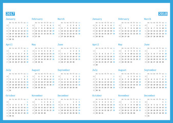 Calendar for 2017 and 2018 year on white background. Vector design print template. Week starts Monday. Stationery design