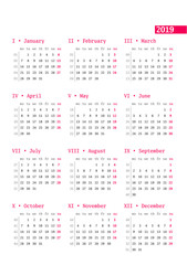 Calendar for 2019 year with week numbers on white background. Vector design print template. Week starts Monday. Stationery design