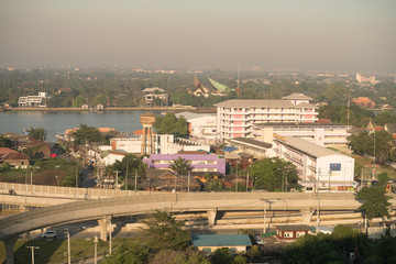 bridge and river to town bangkok