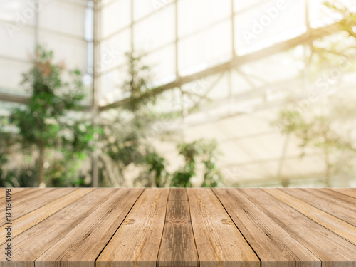 Wooden board empty table in front of blurred background Perspective