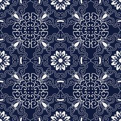 Seamless Blue Japanese Background Spiral Curve Frame Flower