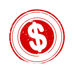 Scratched round red stamp with dollar sign - vector svg