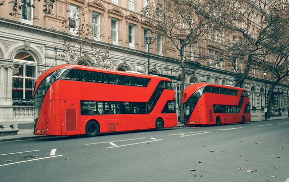 London red bus in station /  Bus of the public transport