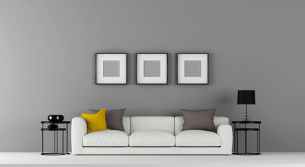 Interior front view for wall decal and wallpaper samples and template