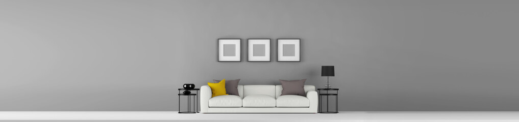 Wide Interior front view for wall decal, wallpaper and web banner sample template