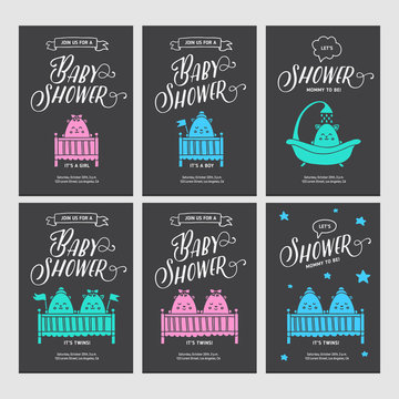 Baby shower invitations doodle collection. Vector vintage illustration.