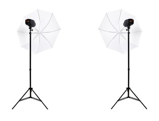 Two studio lights with umbrella