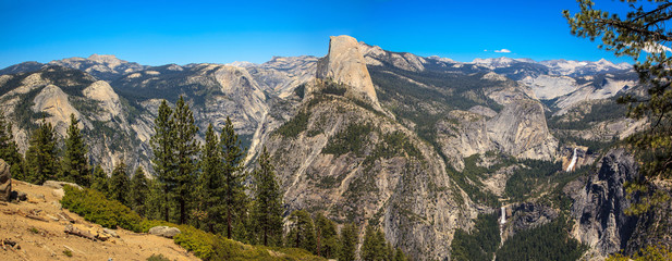 Panoramic view of Yosemite Valley. California.