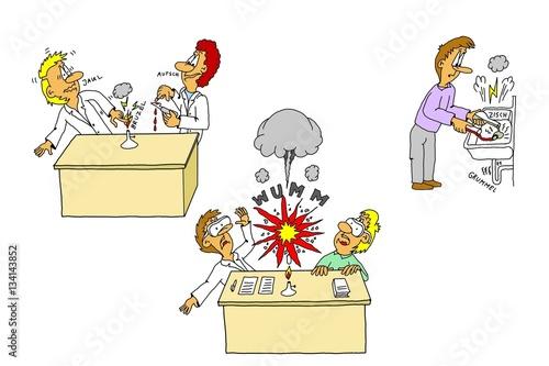 Chemieunterricht, Lehrmaterial, Karikatur, Cartoon, Warnschild ...