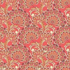 Elegant seamless pattern with fantastic flowers