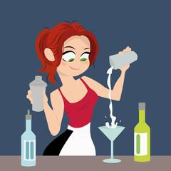 The girl bartender making cocktail drink. Cocktail alcohol, flat vector illustration