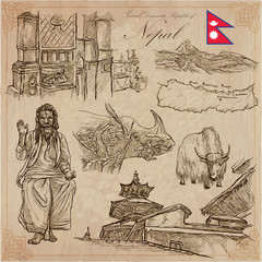 Nepal - Pictures of life. Travel pack. Vector collection. Hand drawings. Set of freehand sketches.
