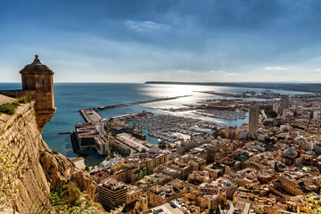 Aerial view of Alicante, Southern Spain, as seen from historic Santa Barbara Castle Wall mural