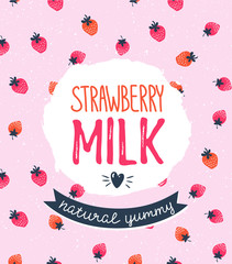 Strawberry milk graphic design, vector illustration with stylish label and pink berry background.
