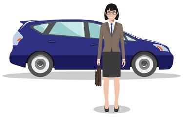 Businesswoman standing near the blue car on white background in flat style. Business concept. Detailed illustration of automobile and woman. Flat design people character. Vector illustration.