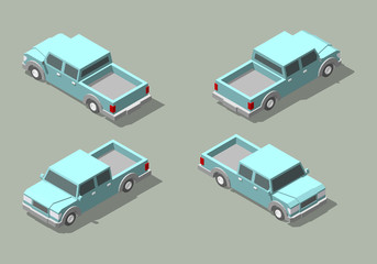 Vector isometric icon set of pickup truck.
