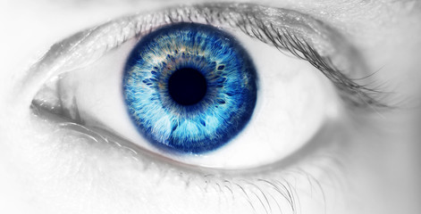 Foto op Aluminium Iris beautiful human eye, macro, close up blue, yellow, brown, green