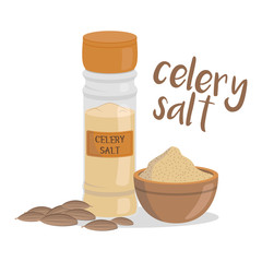 Vector celery salt illustration isolated in cartoon style. Herbs and Species Series