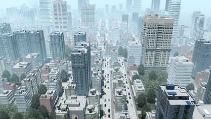 Aerial view of abstract big city downtown with modern high rise buildings skyscrapers at daytime. 3D illustration.