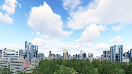 Abstract city district with modern high rise buildings skyscrapers and green park zone against cloudy sky at daytime. 3D illustration.