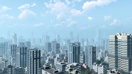 Modern high rise buildings skyscrapers in the heart of abstract city downtown against cloudy sky with haze on horizon. 3D illustration.
