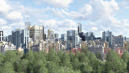 Modern big city district with high rise buildings skyscrapers and green park zone against cloudy sky at daytime. 3D illustration.
