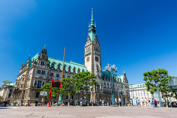Exterior view of the town hall of Hamburg