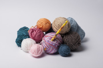 Balls of yarn for knitting with the hook