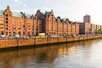 View of the Speicherstadt, also called Hafen City,  in Hamburg,