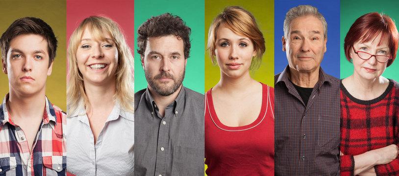 Series of twelve people, from preschooler to senior, colored backgrounds