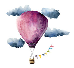 Watercolor violet hot air balloon. Hand painted vintage air balloons with flags garlands, clouds and retro design. Illustrations isolated on white background
