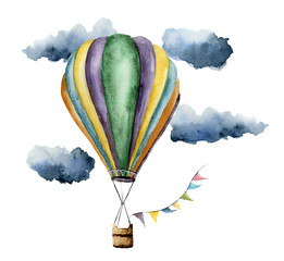 Watercolor hot air balloon set. Hand painted vintage air balloons with flags garlands, clouds and retro design. Illustrations isolated on white background