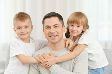 Happy father with children, closeup