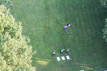 View from the St. Michaelis Tower to the meadow under it in Hamb