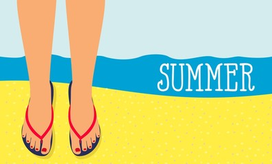 background feet in slippers on the background of the beach top view. Summer Time Background. Sunny Beach in Flat Design Style