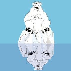 Polar bear on cracked ice reflected in the water on blue, stock vector illustration