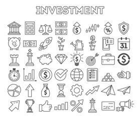 Investment icons set on white background. Colorful creative icons as piggy bank, arrows, gear, money and rocket. Black and white.