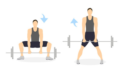 Legs exercise for men on white background. Healthy lifestyle. Crossfit and fitness. Squats with barbell.