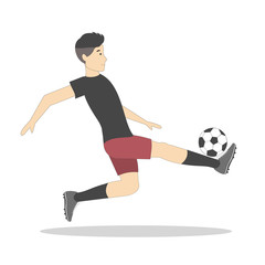 Isolated football player with ball on white background. Soccer player. Man in uniform.