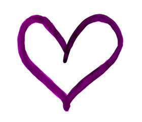 The outline of the violet heart drawn with paint on white background