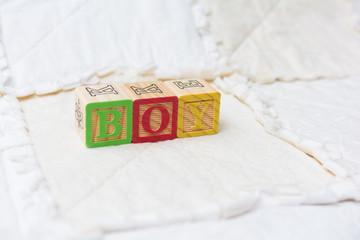 Wooden Alphabet Blocks on Quilt Spelling Boy Far Away