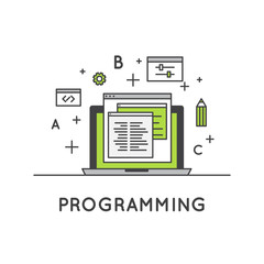 Vector Icon Style Illustration of Programming and Web Development or SEO Process  and Optimization,  Isolated Web Design Template