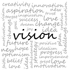Conceptual Illustration of Tag Cloud With Words Related To Vision, Creativity And Optimism