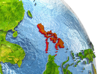 Philippines on Earth in red