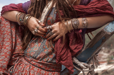 happy gypsy style young woman close up