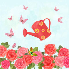 field of blooming roses with a vintage can watering for your des